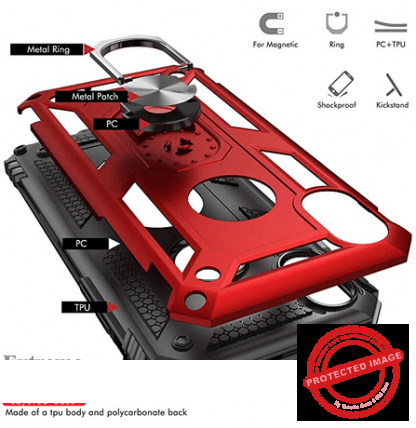 Red Apple Iphone X/XS Military Grade Kickstand Wireless Charging Protective Case